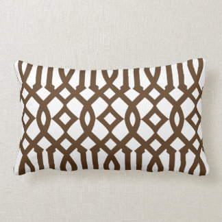 Modern White and Brown Imperial Trellis Lumbar Cushion