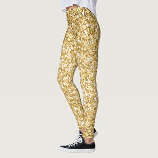 Modern White And Gold Glitter Leggings