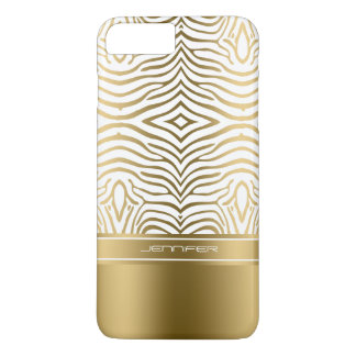 Modern White And Gold Zebra Stripes iPhone 8 Plus/7 Plus Case