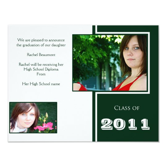Modern White and Green Quad Graduation Card