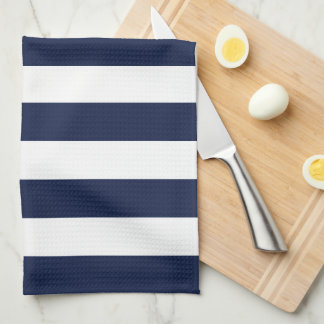 Modern White and Navy Blue Stripes Pattern Tea Towel