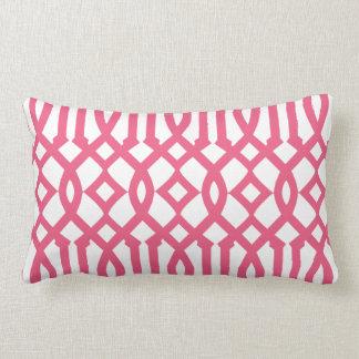 Modern White and Pink Imperial Trellis Lumbar Cushion