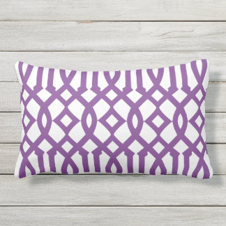 Modern White and Purple Imperial Trellis Outdoor Cushion