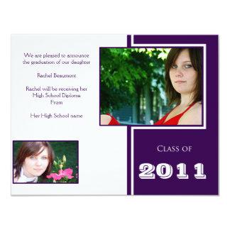 "Modern White and Purple Quad Graduation 4.25"" X 5.5"" Invitation Card"