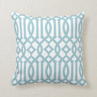 Modern White and Sky Blue Imperial Trellis Cushion