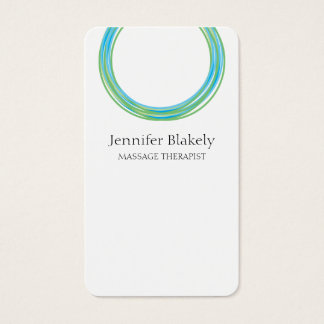 Modern White and Teal Circle Design Business Card