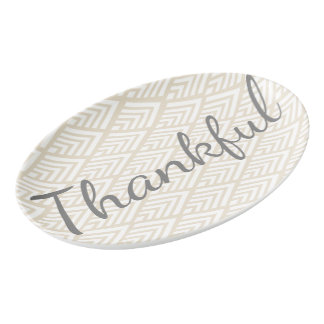 Modern White Arrows Thankful Script Porcelain Serving Platter