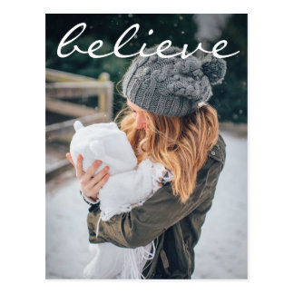 Modern White Believe Typography Photo Holiday Postcard