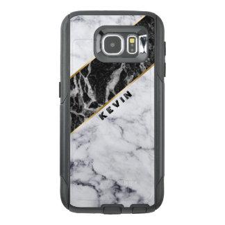 Modern White & Black Marble Geometric Design OtterBox Samsung Galaxy S6 Case