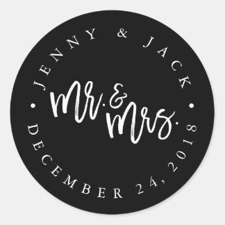 Modern White Black Mr And Mrs Wedding Sticker
