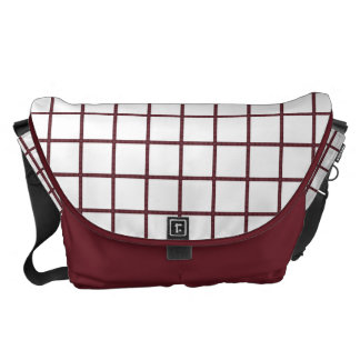 Modern White Blocks with Wine Lines Commuter Bag