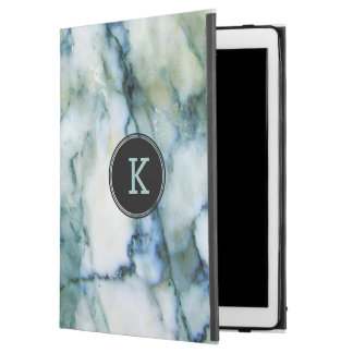"Modern White & Blue-green Tint Marble Texture iPad Pro 12.9"" Case"