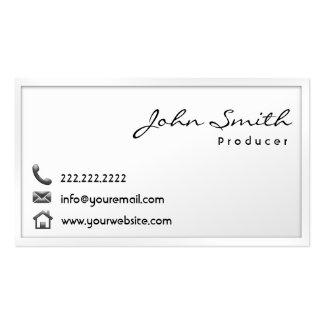 Modern White Border Producer Business Card