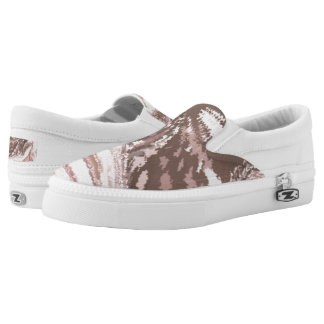 Modern_White_Brown Slip Ons Shors