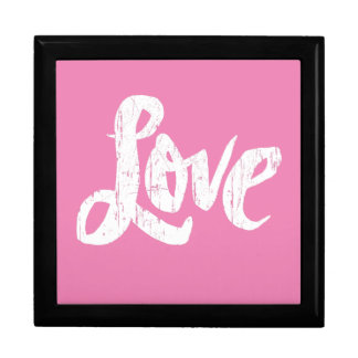 Modern White Calligraphy Love Pink Valentine Large Square Gift Box