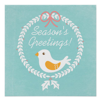 Modern White Christmas Wreath With Dove Posters