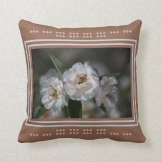 Modern White Crabapple Flowers Design Bubbleblue Throw Cushions