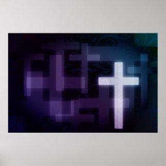 Modern White Cross Faith Religion Poster