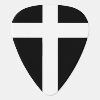 modern white cross on black plectrum