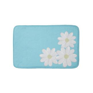 Modern White Daisies on Aqua Bath Mat