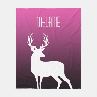 Modern White Deer Silhouette Pink Gradient & Name Fleece Blanket