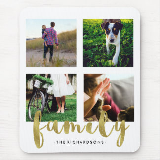 Modern White Family Photo Grid with Faux Gold Foil Mouse Pad