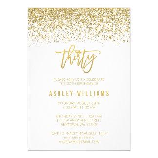 Modern White Faux Gold Glitter 30th Birthday Card