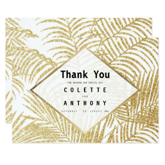 Modern white faux gold glitter palm tree Thank You Card