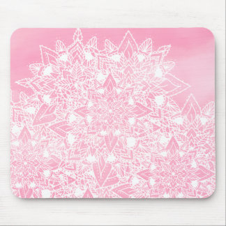 Modern white floral lace mandala pink watercolor mouse pad