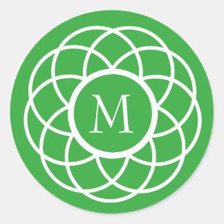 Modern White Flower on Bright Green Monogram Classic Round Sticker