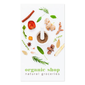 Modern white fresh organic foods healthy cooking pack of standard business cards
