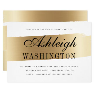 Modern White & Gold Brush Stroke Birthday Party Card