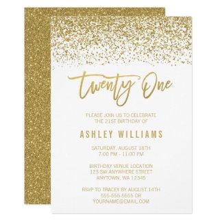 Modern White Gold Faux Glitter 21st Birthday Card