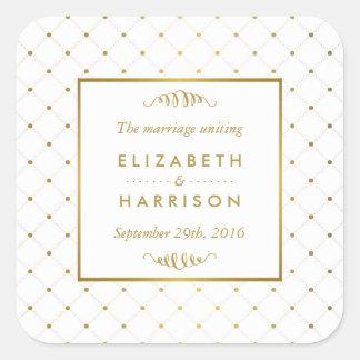 Modern White & Gold Foil Effect Wedding Favor Square Sticker