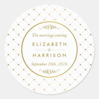 Modern White & Gold Foil Effect Wedding Thank You Round Sticker