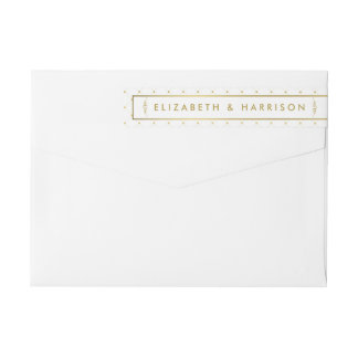 Modern White & Gold Foil Effect Wedding Wrap Around Label