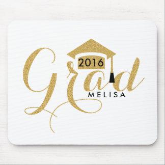 Modern White & Gold Glitter Grad 2016 Mouse Pad