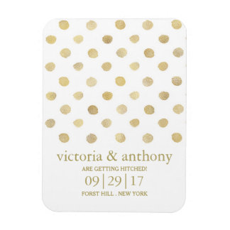 Modern White & Gold Polka Dots Save The Date Magnet