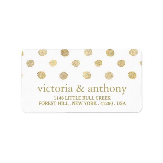 Modern White & Gold Polka Dots Wedding Address Label
