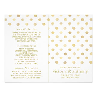 Modern White & Gold Polka Dots Wedding Program 21.5 Cm X 28 Cm Flyer