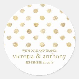 Modern White & Gold Polka Dots Wedding Thank You Round Sticker