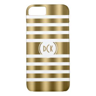 Modern White & Gold Random Stripes iPhone 7 Case