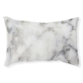 Modern White & Gray Marble Stone Pet Bed