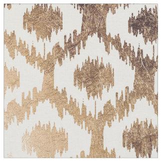 Modern white handrawn ikat pattern faux brass gold fabric