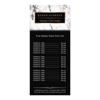 Modern White Marble Beauty Salon Price List Rack Card