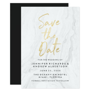 Modern White Marble Gold Script | Save The Date Card