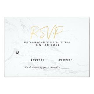 Modern White Marble Gold Script | Wedding RSVP Card