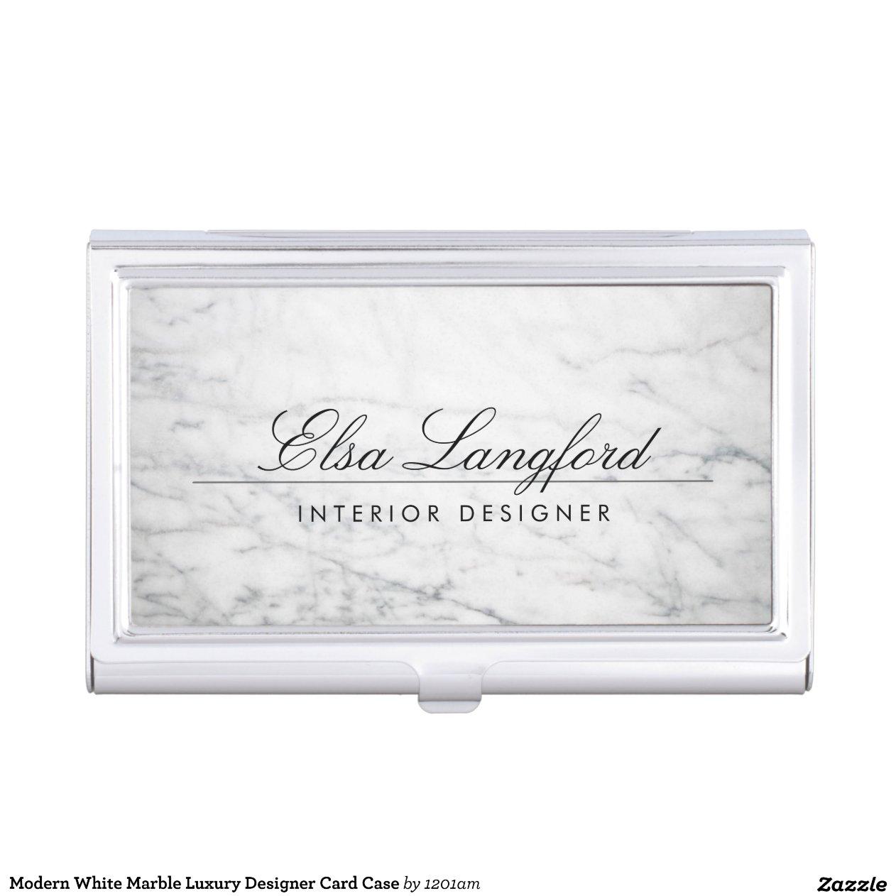 Modern White Marble Luxury Designer Card Case Business