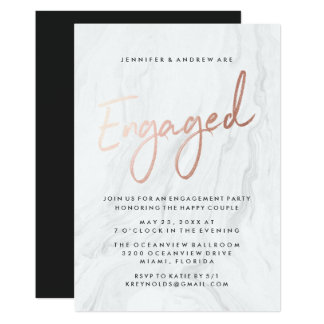 Modern White Marble Rose Gold | Engagement Party Card