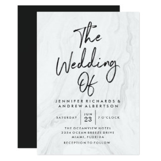Modern White Marble Script | Wedding Invitation